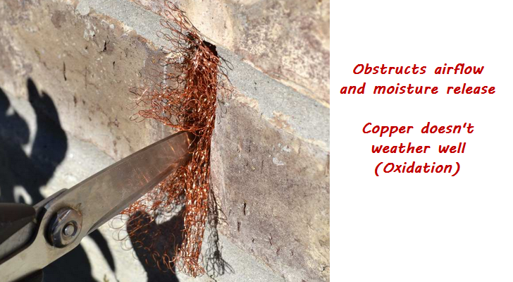 copper mesh in weep hole